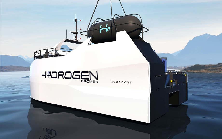 Así es como Promek concibe la aparición de una embarcación impulsada por hidrógeno. Ilustración: Promek.