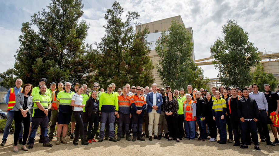 Employees at Skretting's feed plant in Cambridge, Tasmania. The company intends to buy an extrusion plant from Ridley. Photo: Skretting.