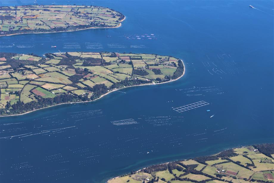 Imagen aérea de zona salmonicultora. Imagen: Centro Incar.