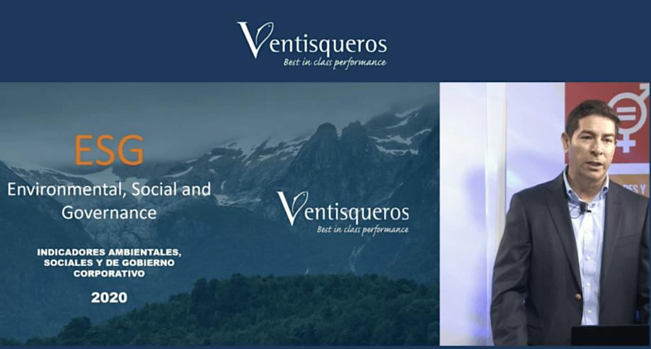 Gerente de Normativa, Concesiones, Certificaciones y Medio Ambiente de Ventisqueros, Igor Stack, en presentación de Reporte ESG.