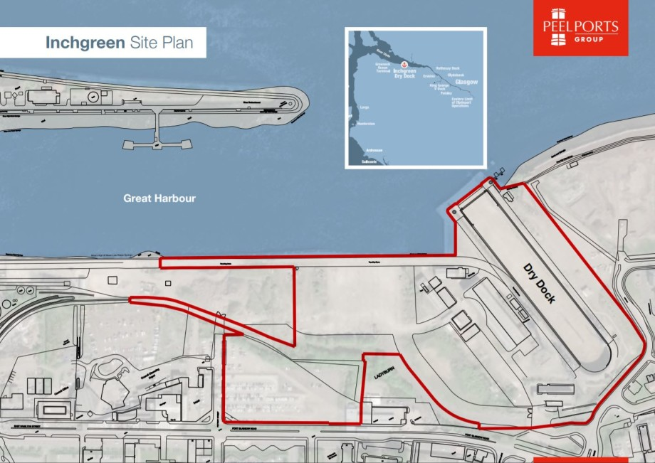 The development site and dry dock at Inchgreen are outlined in red. Graphic: Peel Ports.