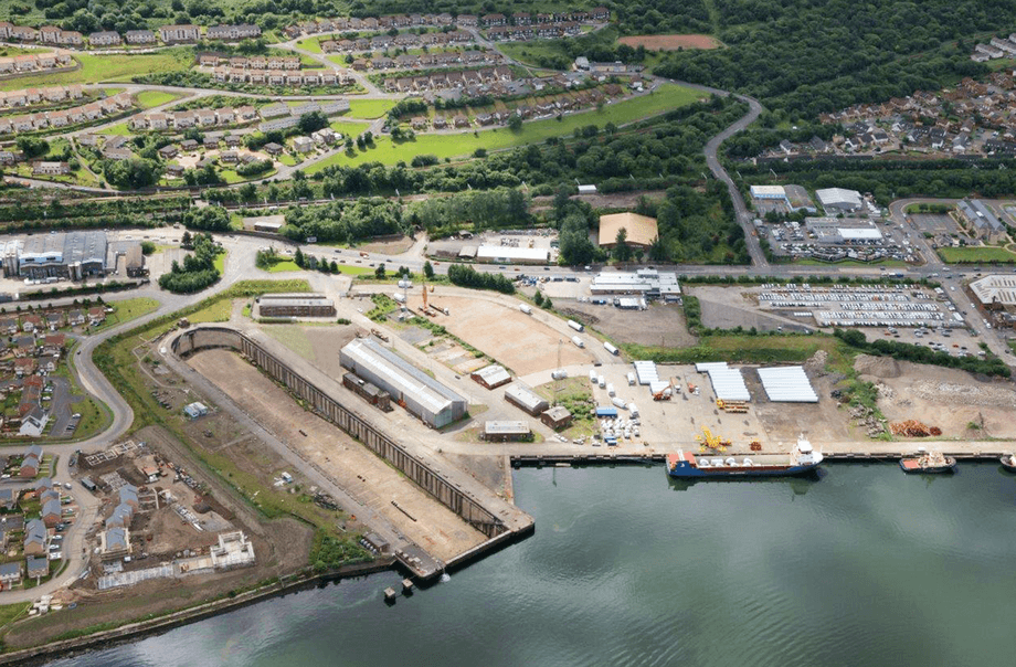 The Inchgreen site is to the right of the large dry dock in the picture. Photo: Peel Ports.