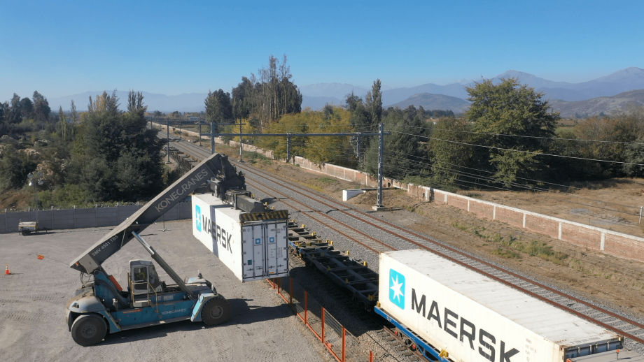 Área ferroviaria de Maersk en Chile. Foto: Maersk.