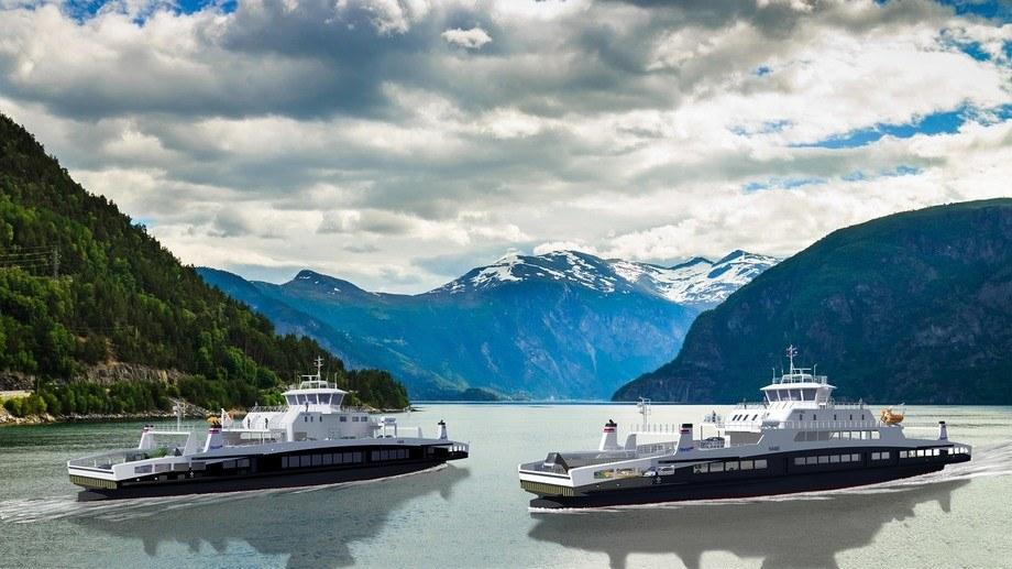 Illustrasjon av de nye ferjene til Fjord1. Illustrasjon: HAV Design.