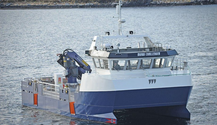 «Mowi Challenger» er den første av to arbeidsbåter Promek leverer til Mowi Scotland Ltd. Foto: Promek