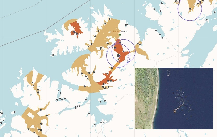 Cermaqs lokalitet Komagnes. Kart: Barentswatch, bilde: Google maps
