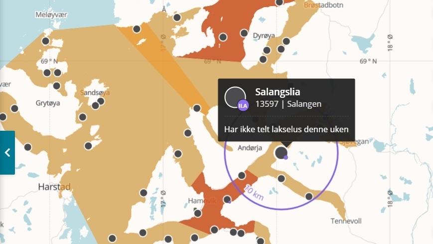 Det er mistanke om ILA på lokaliteten Salangslia i Salangen kommune i Troms og Finnmark fylke. Skjermdump Barentswatch.