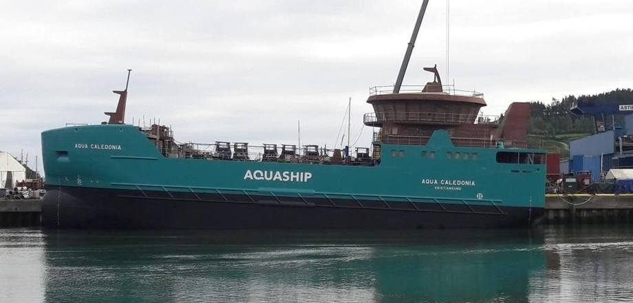 The Aqua Caledonia, a 'utility' wellboat that can also be used as a harvest vessel. It will be delivered this year. Photo: AquaShip.