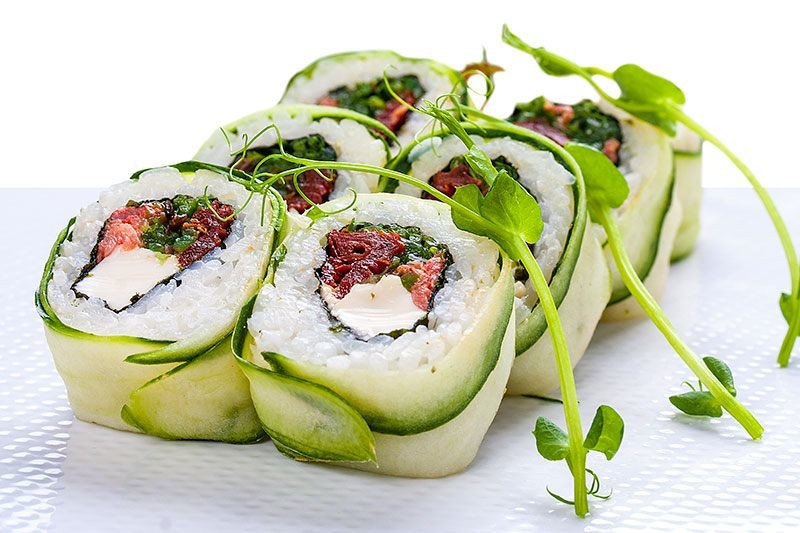 Friend of the Sea has certified Nutriterra, an omega-3 product derived from GM canola, as meeting its plant-based seafood standard. Nutriterra can be used used in plant-based seafood alternatives such as vegan sushi, pictured. Image: Friend of the Sea.