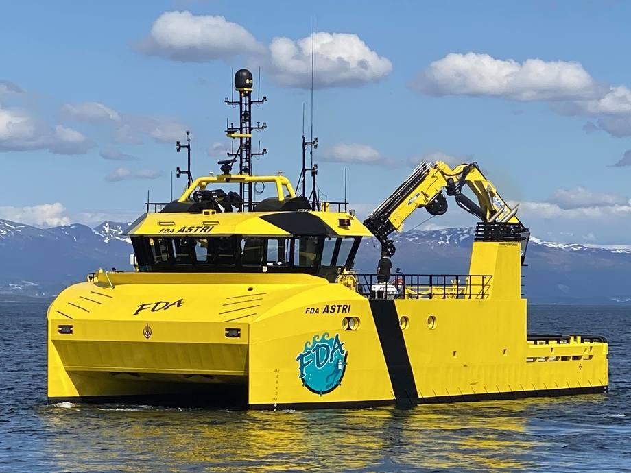 «FDA Astri» er den første av tre som Salthammer Båtbyggeri skal levere til Finnsnes Dykk & Anlegg. Foto: Salthammer Båtbyggeri