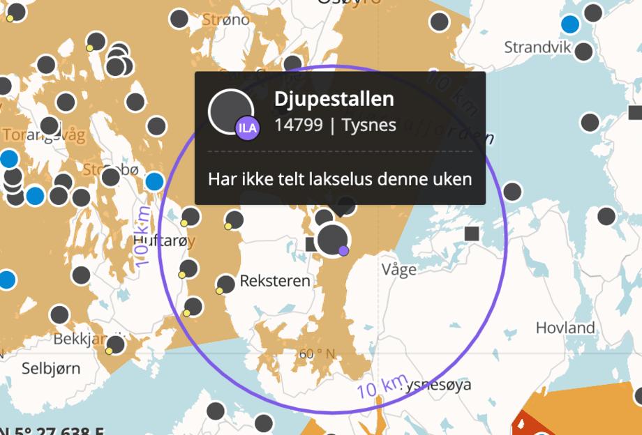 Lokalitet Djupestallen. Skjermdump fra Barentswatch.