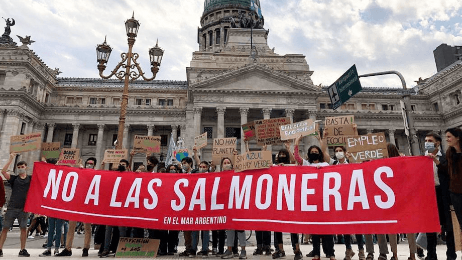 Protesters calling for a law against net pen salmon farms in Tierra del Fuego province, Argentina.