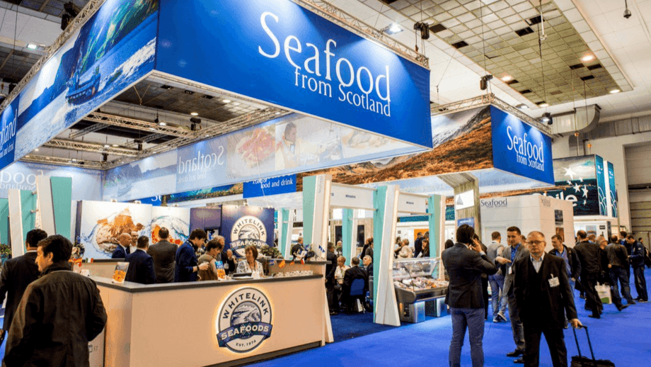 A Seafood from Scotland stand at Seafood Expo Global in Brussels in 2017. Scottish Seafood will administer £1.8m in funding to boost sales of Scottish seafood worldwide following setbacks caused by Brexit and Covid-19. Photo: FFE.