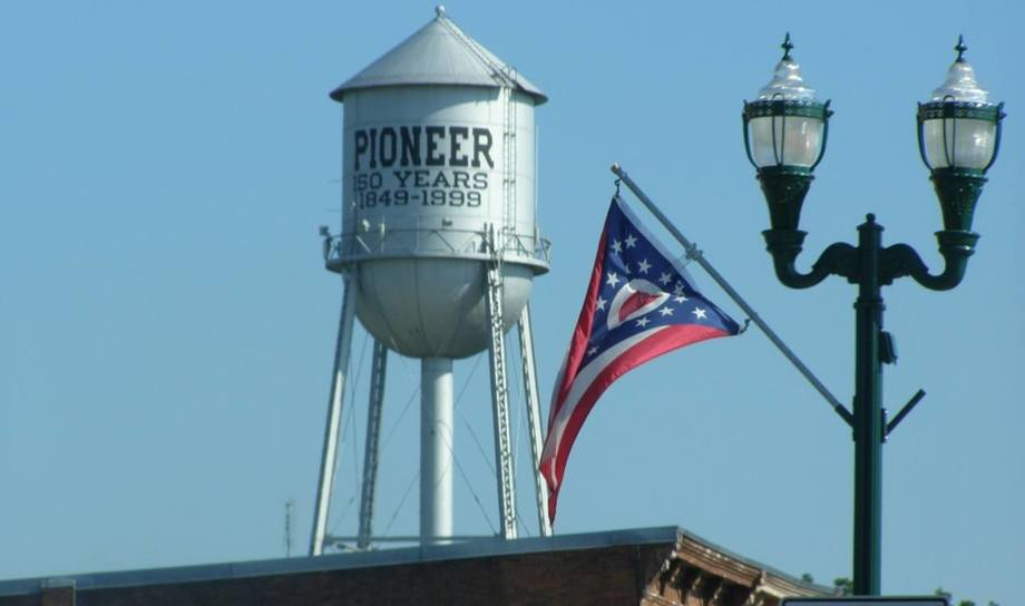 A water tower in the Ohio village of Pioneer, where AquaBounty will build a 10,000-tonnes-per-year GM salmon RAS. Photo: Village of Pioneer website.