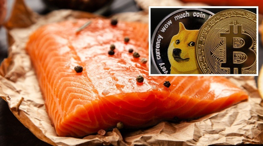 Oshēn, an online salmon brand from Ventisqueros' and Blumar's joint US marketing company BluGlacier, has announced that it will accept payment in a variety of cryptocurrencies including Dogecoin and Bitcoin. Images: BluGlacier; Yahoo..