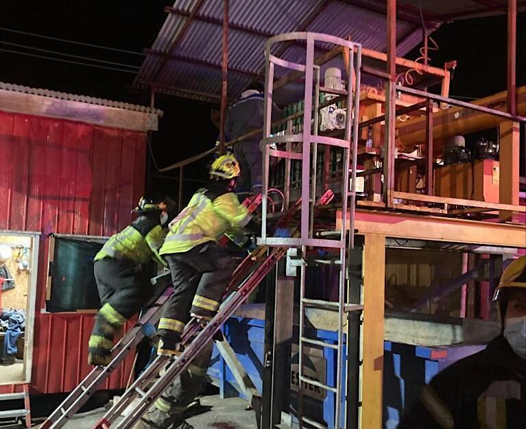 Día del accidente en la planta de Salmones Austral. Foto: Dirección del Trabajo Los Lagos.