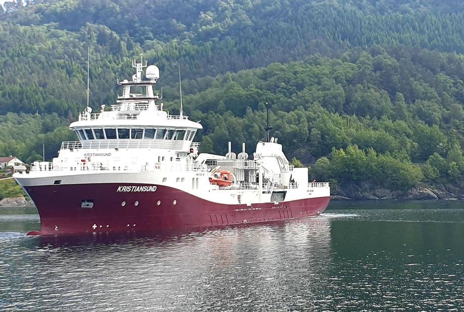 Den fjerde i Havtrans-serien, «Kristiansund», er levert fra Havyard Leirvik til Frøy.  Foto: Havyard