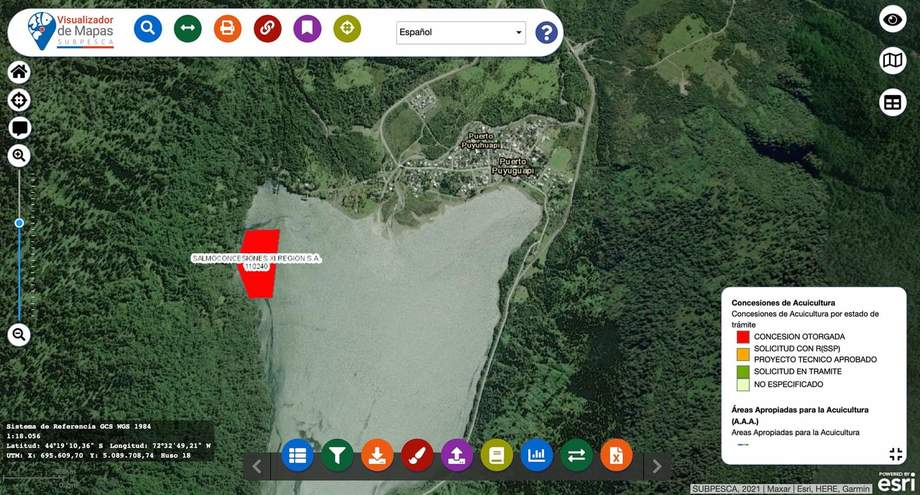 Imagen de la zona en que se encuentra la concesión de Salmones de Chile. Imagen: El Divisadero.