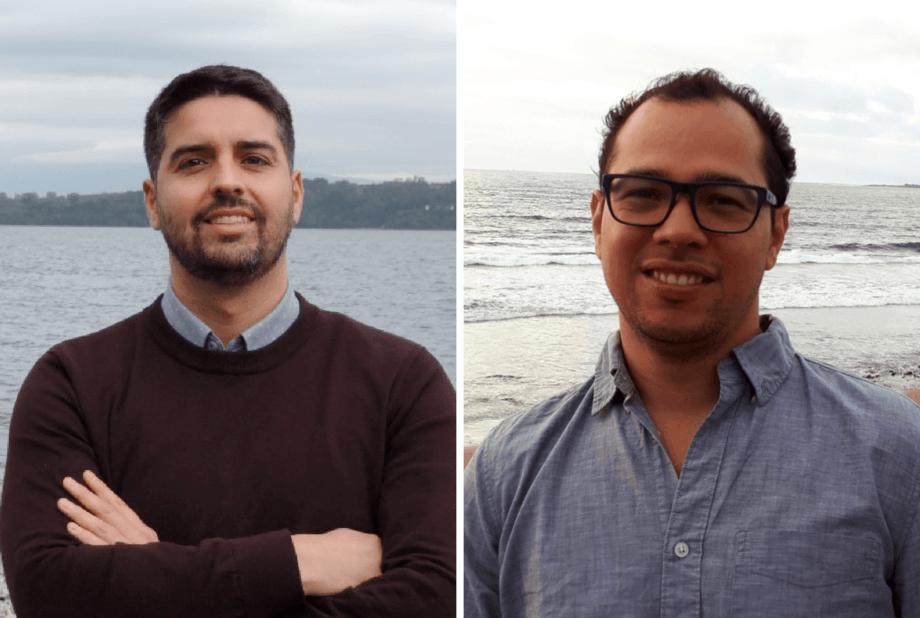 Felipe Tucca y Alexander Jaramillo, doctores en Ciencias Ambientales y en Acuicultura, respectivamente. Foto: Intesal.