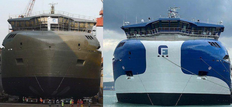 El Gåsø Høvding antes y después de su nuevo trabajo de pintura. Fotos: Cflow.
