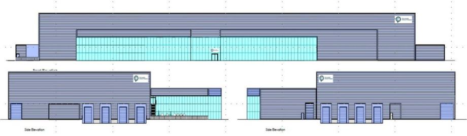 Architect's drawings showing the elevations of SSC's proposed salmon processing plant. Image: Bakkafrost.