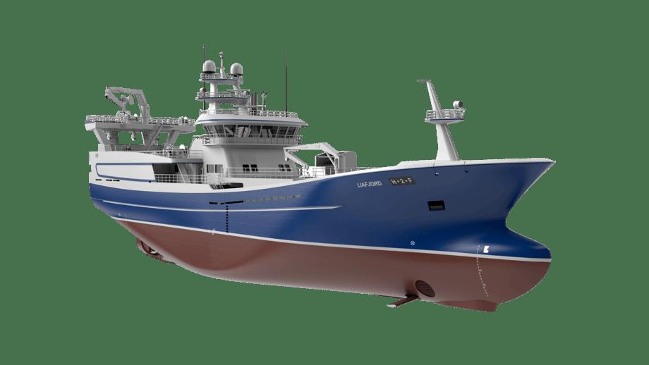 Liegruppens nye pelagiske tråler M/S Liafjord med foilmodul fra Wavefoil