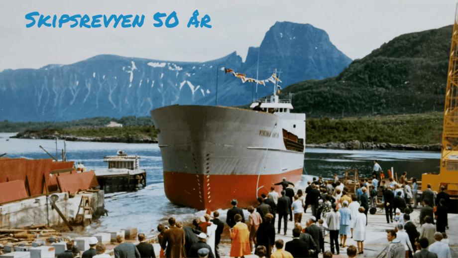 Mange hadde møtt opp for å følge sjøsettinga av «Viking Anton» fra beddinga på Hjørungavåg Verft i 1971. Foto: Privat