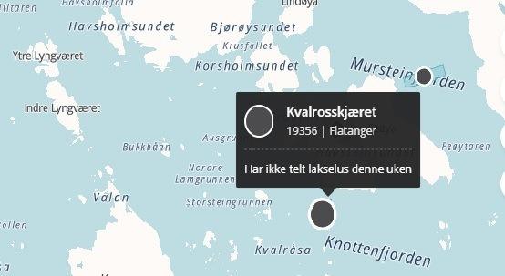 Midt-Norsk Havbruk mistenker det er ILA på en av deres lokaliteter som driftes av Bjørøya. Kart: Barentwatch.