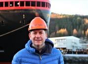 <p>Direktør i Hurtigruten, Daniel Skjeldam, var stolt over å kunne vise frem sitt nye skip</p>