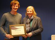<p>Ben Weiss, Mowi farm manager, is presented with his certificate by SSPO sustainability director Anne Anderson. Photo: FFE.</p>