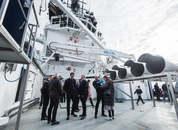 <p>Visitors on board the MS Bakkanes at Bakkafrost's headquarters at Glyvrar on Saturday. Photo: Bakkafrost.</p>