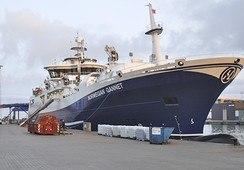 «Norwegian Gannet» med fisk fra Skottland til Hirtshals