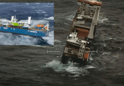 Service boat has fallen off stricken cargo ship