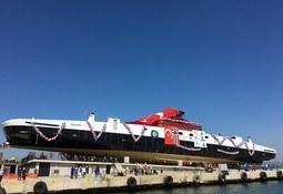 Første ferge på sambandet Hareid-Sulesund er sjøsatt