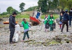 Retiran más de dos toneladas de plumavit y residuos en Isla Huar