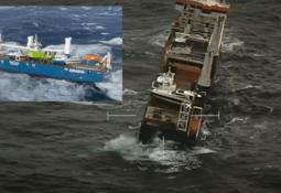 Service boat has fallen off stricken cargo ship