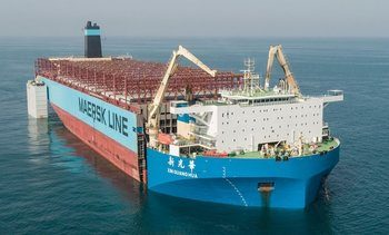 Her er restene av «Maersk Honam» på vei til Sør-Korea