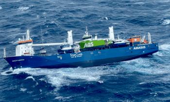 Ship carrying three fish farm boats adrift in stormy sea