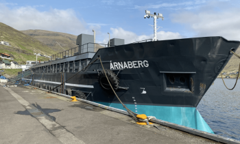 Ship-design feed barge drops anchor at exposed new Mowi site