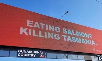 Tasmanian Premier slams anti-salmon farming billboard campaign